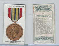 P72-140 Player, War Decorations & Medals, 1927, #29 Succour Prisoners