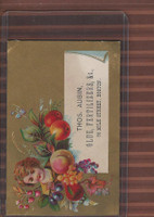 Victorian Card, 1890's, Aubin, Thos. Glue & Fertilizers, Boston, Girl, Fruit