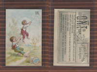 Victorian Card, 1890's, Clarks Thread, Boys Flying Kite