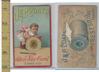 Victorian Card, 1880's, JP Coats, Girl Riding Spool, Best Six Cord Thread