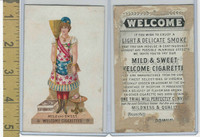 Victorian Card, 1882, Goodwin Tobacco, Lady in Flag Dress With Broom