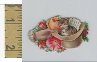 Victorian Diecuts, 1890's, Cats, Kitten in Hat, Flowers, Hand (20)
