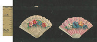 Victorian Diecuts, 1890's, Flowers, (102) Two Fans