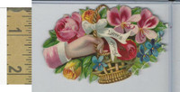 Victorian Diecuts, 1890's, Flowers, (107) Hand, Love Offering