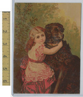 Victorian Diecuts & Cards, 1890's, Girls, Red Dress With Dog (2)