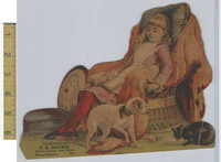 Victorian Diecuts & Cards, 1890's, Girls, Dog, FE Drown, Brattleboro, VT  (3)