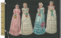 Victorian Diecuts, 1890's, Girls, Lot of Four Long Dresses & Flowers (7)
