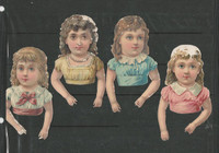 Victorian Diecuts, 1890's, Girls, Lot of Four Waist Up (8)