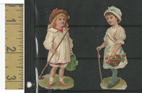 Victorian Diecuts, 1890's, Girls, Lot of Two Carrying Sticks (11)