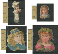 Victorian Diecuts, 1890's, Girls, Lot of Four Cutouts (12)