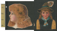 Victorian Diecuts, 1890's, Girls, Lot of Two Cutouts (14)
