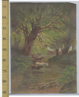 Victorian Diecuts & Cards, 1890's, Landscapes, Cows in River (4) Large