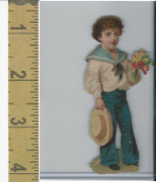 Victorian Diecuts, 1890's, Ships & Nautical, (11) Sailor Boy With Flowers