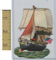 Victorian Diecuts, 1890's, Ships & Nautical, (17) USA Sailing Ship, Flag