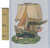 Victorian Diecuts, 1890's, Ships & Nautical, (18) USA Sailing Ship, Flag