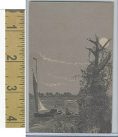 Victorian Diecuts & Cards, 1890's, Ships & Nautical, (23) Sailing, Moon
