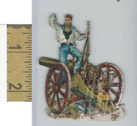 Victorian Diecuts, 1890's, Soldiers, (105) Soldier, Cannon
