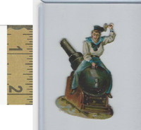 Victorian Diecuts, 1890's, Soldiers, (106) Soldier, Cannon