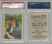 D124 Weber Baking, Famous Men, 1920, William Penn, PSA 4.5 VGEX+