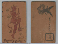 L Misc, Leather Postcard, 1907, Harrisburg, PA, Why The Devil Don't You Write