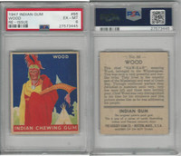 R773 Goudey, Indian Gum, 1947, #86 Wood, Winnebagoes, PSA 6 EXMT