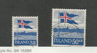 Iceland, Postage Stamp, #313-314 Used, 1958 Flag