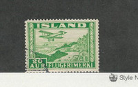 Iceland, Postage Stamp, #C16a Perf 14 Used, 1934 Airplane