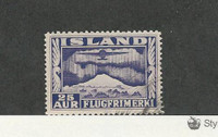 Iceland, Postage Stamp, #C17a Perf 12.5X14 Used, 1934 Airplane