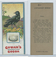V9 Cowan, Canadian Bird Cards, 1920's, Crow