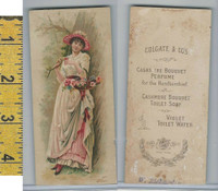 Victorian Card, 1890's, Colgate Toilet Soap, Floral Bookmark, Girl Basket Flowers