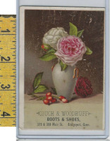 Victorian Card, 1890's, Couch & Woodruff Shoes, Brideport CT, Vase Roses