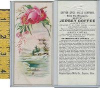 Victorian Card, 1890's, Dayton Spice, Jersey Coffee, Rose, Cabin, Winter