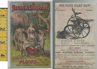 Victorian Card, 1890's, Deere Plows, Moline IL, Cows & Milkmaid