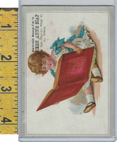 Victorian Card, 1890's, Detroit Soap Co., Girl Reading Book
