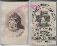 Victorian Card, 1890's, Domestic Sewing, New York, Lady With Jewelry