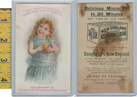 Victorian Card, 1890's, Dougherty New England Mince Meat, Girl Blue Dress