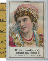 Victorian Card, 1890's, Dover Furniture, Dover NH, Gypsy Girl