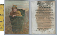 Victorian Card, 1890's, Fleming Bros Cologne, Pittsburgh PA, Girl In Basket