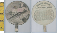 Victorian Card, 1879, Holbrock Shoes, Utica, Fan, China, Fishing, Calendar