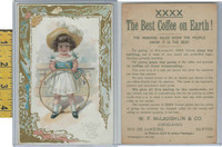 Victorian Card, 1890's, McLaughlin Coffee, Girl Plays With Toy Ring