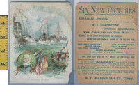 Victorian Card, 1890's, McLaughlin Coffee, Naval Review, Flags, Ships