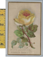 Victorian Card, 1890's, Mills & Race Shoes, Auburn NY, Yellow Rose