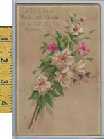 Victorian Card, 1890's, Mills & Race Shoes, Auburn NY, Pink & White Flowers