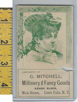 Victorian Card, 1890's, Mitchell Millinery, Little Falls NY, Girl
