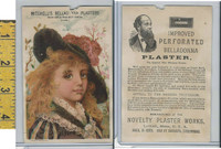 Victorian Card, 1890's, Mitchell's Plaster, Lowell MA, Girl With Black hat