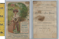 Victorian Card, 1890's, Morrows Shoes, New York, Lady Green & Purple Dress