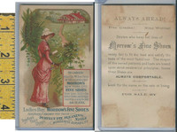 Victorian Card, 1890's, Morrows Shoes, New York, Lady Red Dress on Path