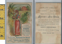 Victorian Card, 1890's, Morrows Shoes, New York, Lady Red Dress Basket