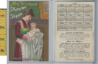 Victorian Card, 1890's, Mrs. Winslows Syrup, Calendar, Mother & Baby