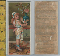 Victorian Card, 1890's, Muzzy Starch, Elkhart IN, Girl Holds Bird